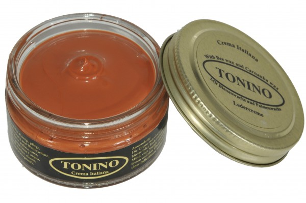 Light Brown Tonino leather cream in the glass. Care + protection.