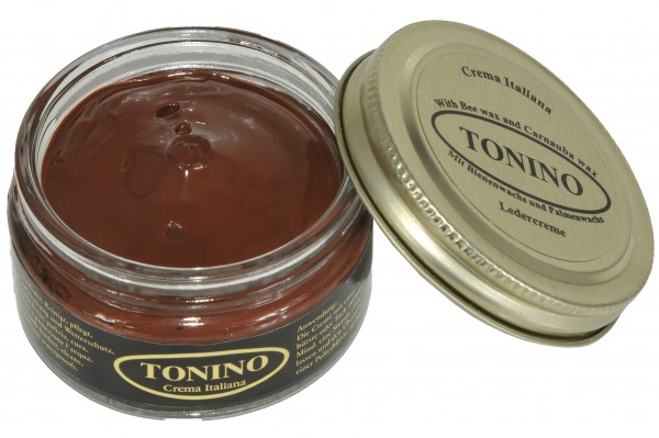 Medium brown Tonino leather cream in the glass. Care + protection.