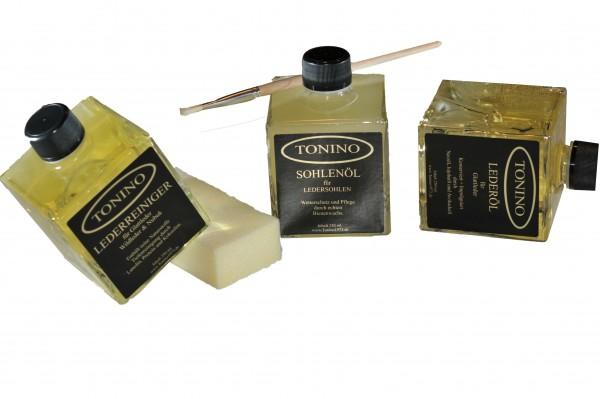Tonino TRISET 750 ml. Sohlenöl, Lederöl und Lederreiniger