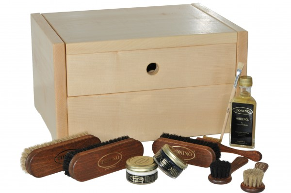 Shoe cleaning box Ancona in solid maple with or without engraving
