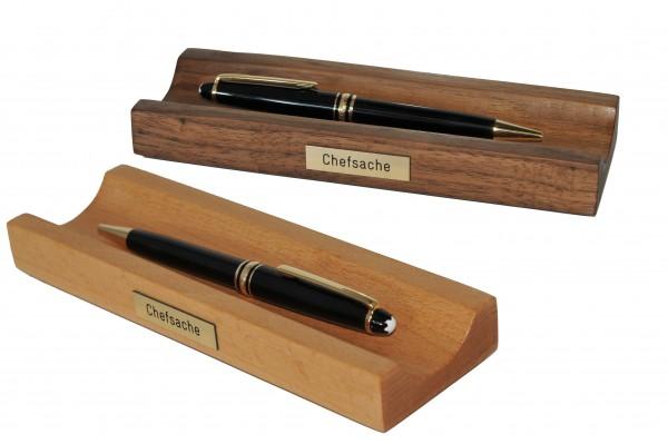 Stiftablage mit Gravur in Nussbaum oder Buche Stiftschale