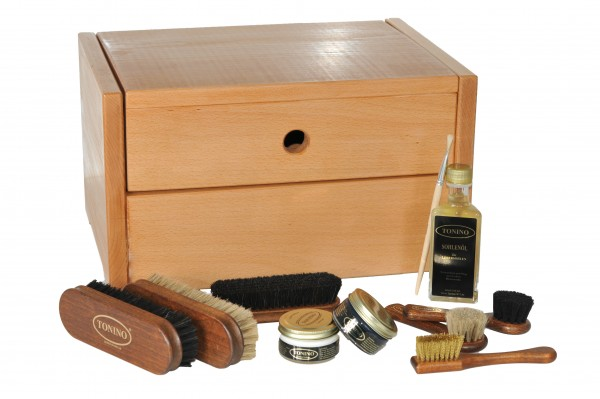 Shoe cleaning box Ancona in solid Beechwood with or without engraving