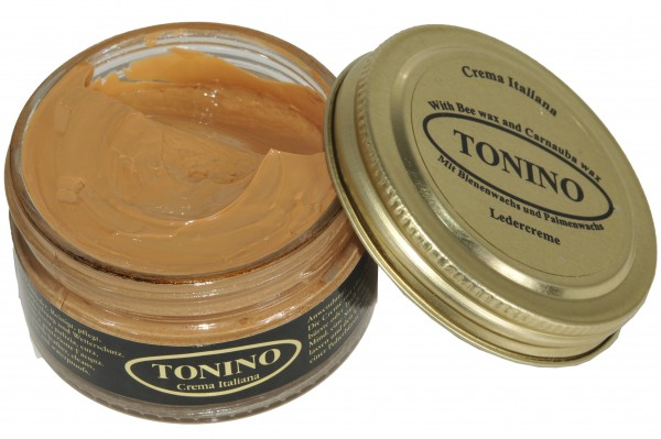 Sand Tonino leather cream in the glass. Care + protection.