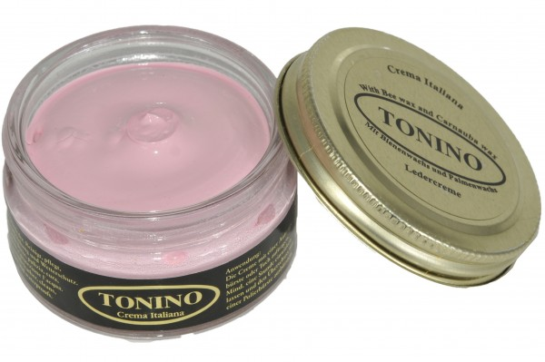 Pink Tonino leather cream in the glass. Care + protection.