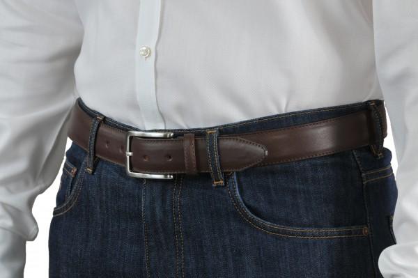 Dark brown leather belt 35 mm wide