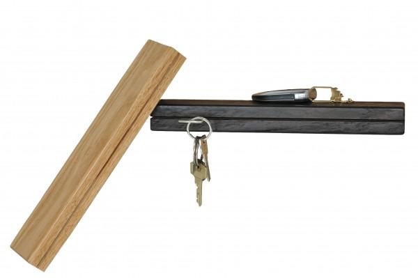Schlüsselbrett in massiv Eiche oder Räuchereiche 30 cm Schlüsselhalter